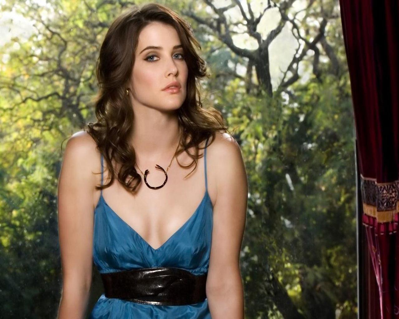 Cobie Smulders en robe très décolletée