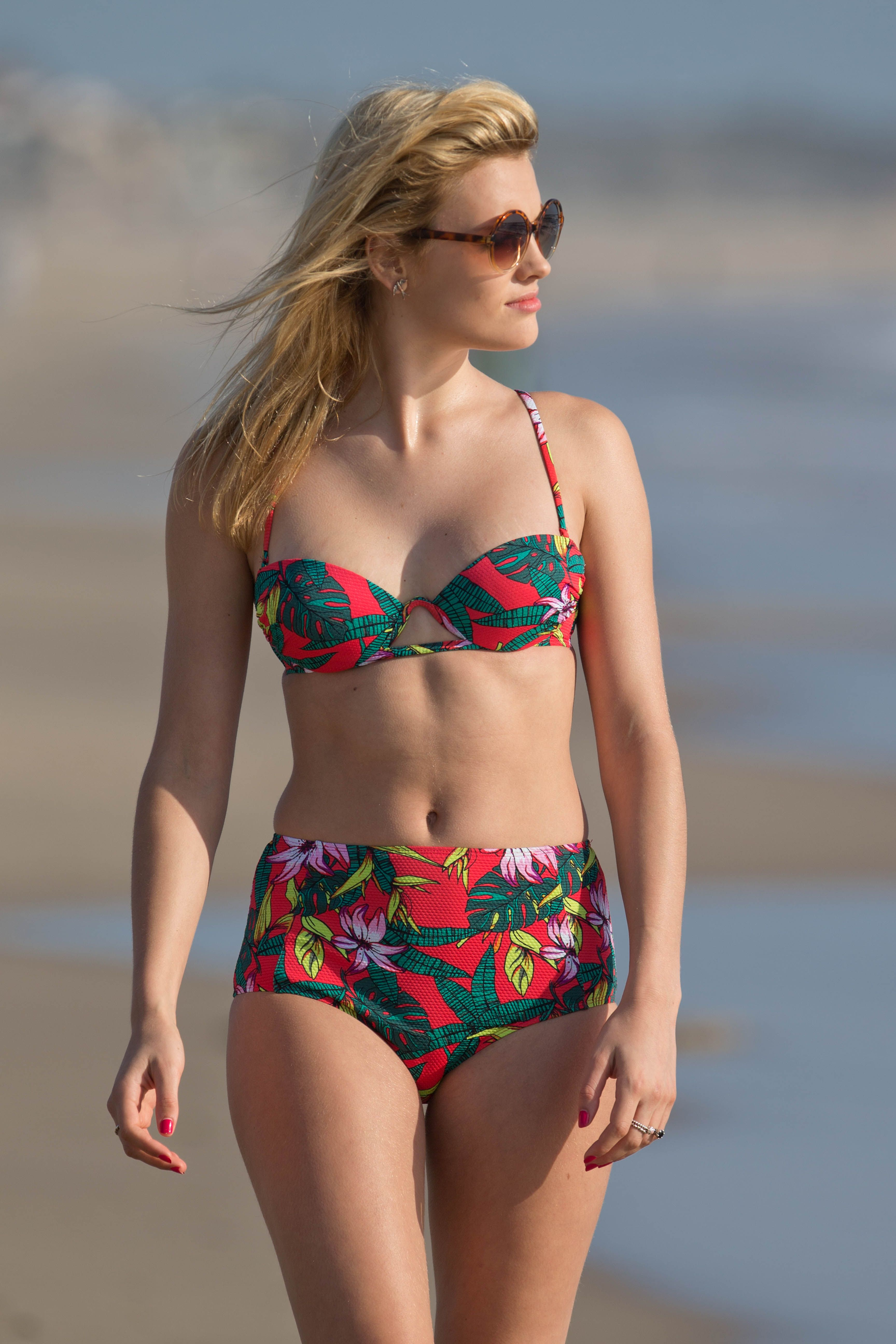 Ashley James en bikini sur la plage