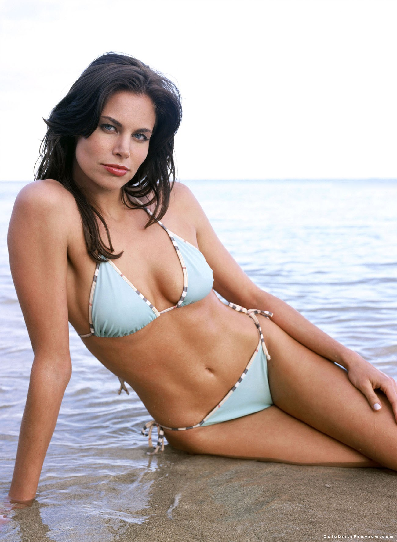 Brooke Burns en bikini sur la plage