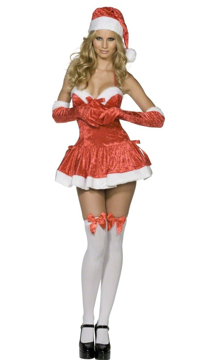 Mère Noël en mini-robe très décolletée